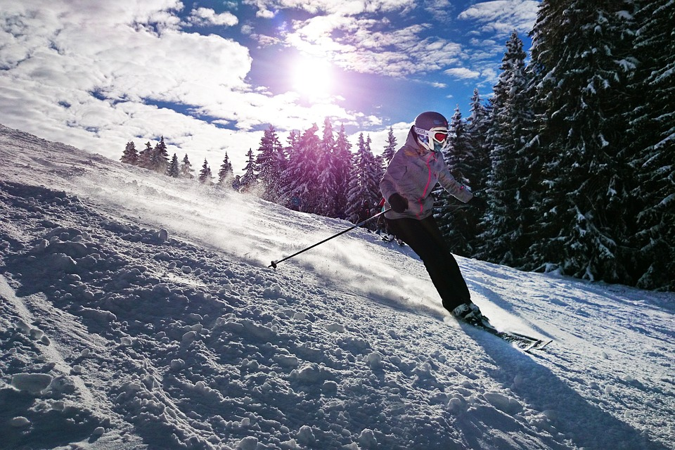 a girl skiing