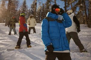 group of people skiing in the mountain